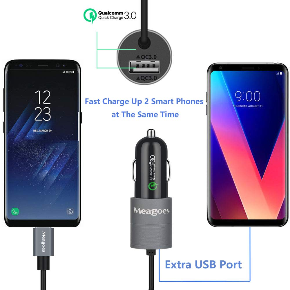 Note 9//8 and More Phones Meagoes USB C Car Fast Charger Compatible Samsung Galaxy S10 Plus//S10//S9 Plus//S9//S8+//S8 Integrated 3.3 FT USB Type C Rapid Charging Cable Cord Quick Charge 3.0 Enabled