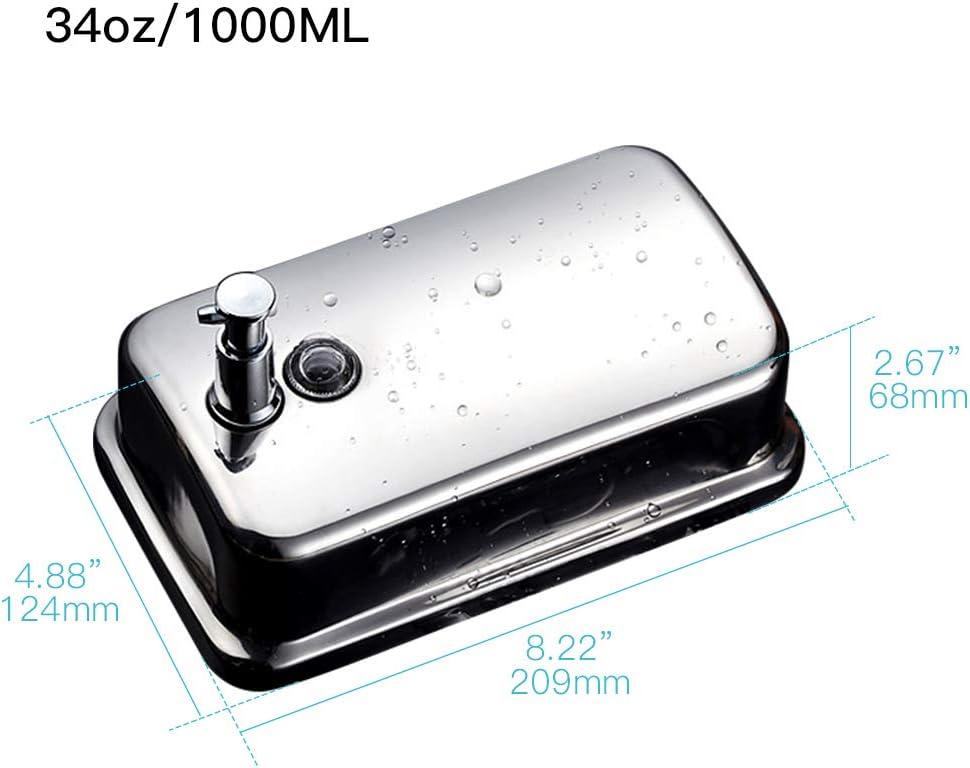 AIKE AK1001 Dispensador de jab/ón l/íquido montado en la Pared para ba/ño y Cocina 1000ml Acero Inoxidable Pulido
