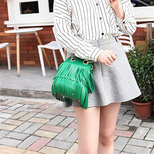 Chain Green Drawstring Bag Crossbody Bucket with Remeehi Shoulder Fringe Bag 8pfwzqg