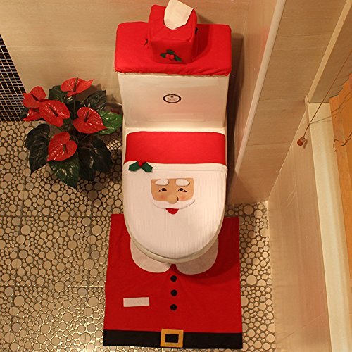 new KISENG Christmas Decorations Happy Santa Toilet Seat Cover and Rug Bathroom Set (B)