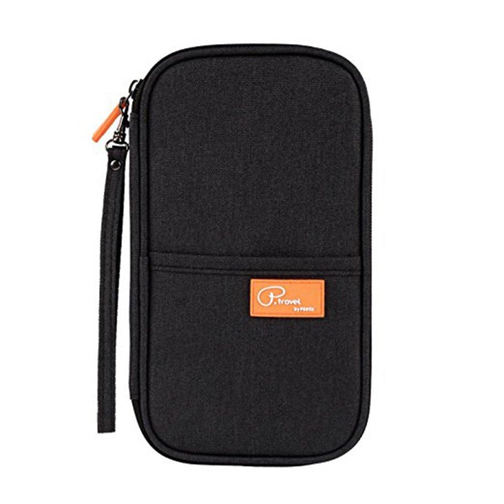 Travel Wallet Family Passport Holder, Portable RFID Document Organizer Clutch Travel Purse Wrist Strap by FLYMEI