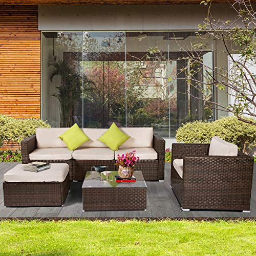 AECOJOY 6 Pieces Outdoor Patio PE Rattan Wicker Sofa Cushioned Sectional Furniture Set with Pillows (6 Piece Patio)