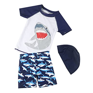 7354d212a3 Kids Baby Boys Two Piece Shark Swimsuit Toddler UV Sun Protective Short  Sleeve Bathing Suit Surfing