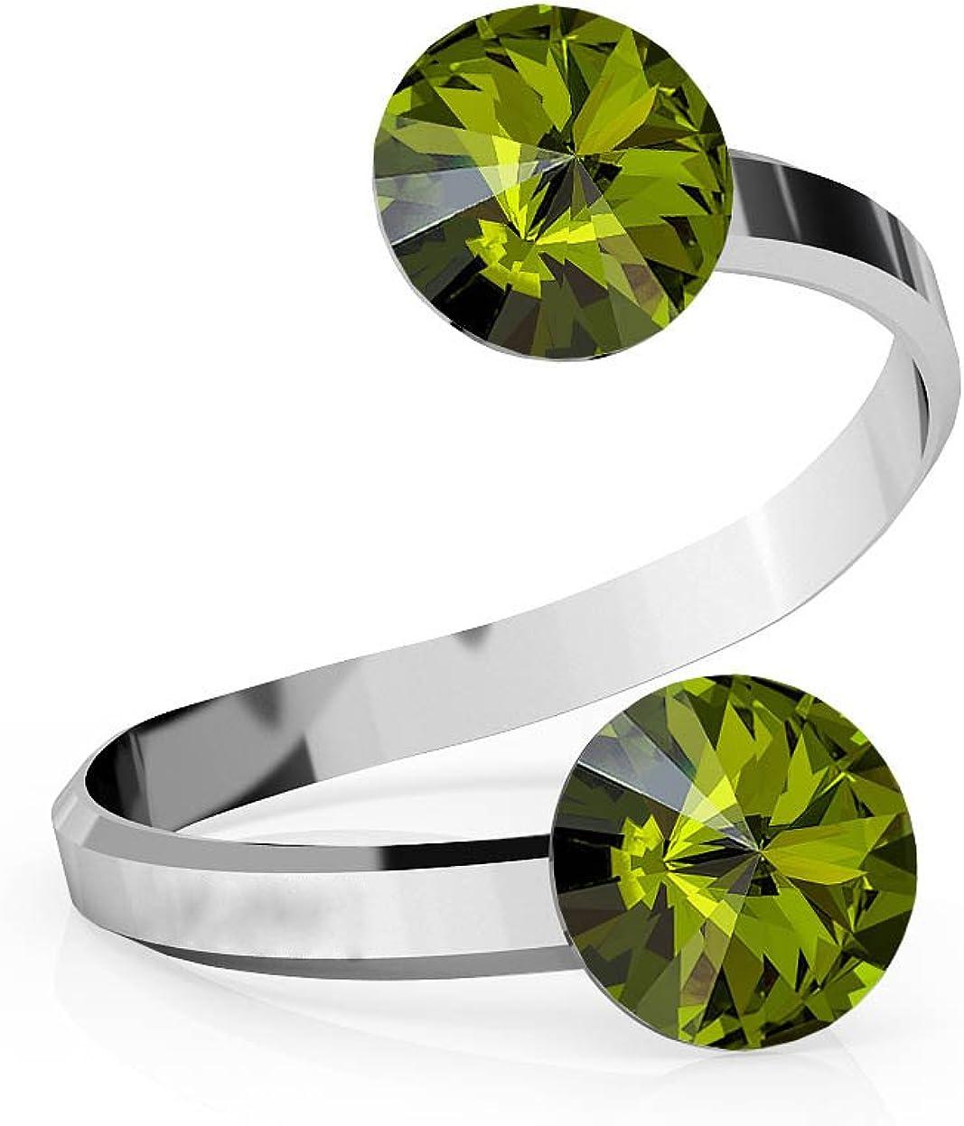 Crystals & Stones Rivoli - Anillo doble de cristal ajustable (plata de ley 925, varios colores, pin/75)
