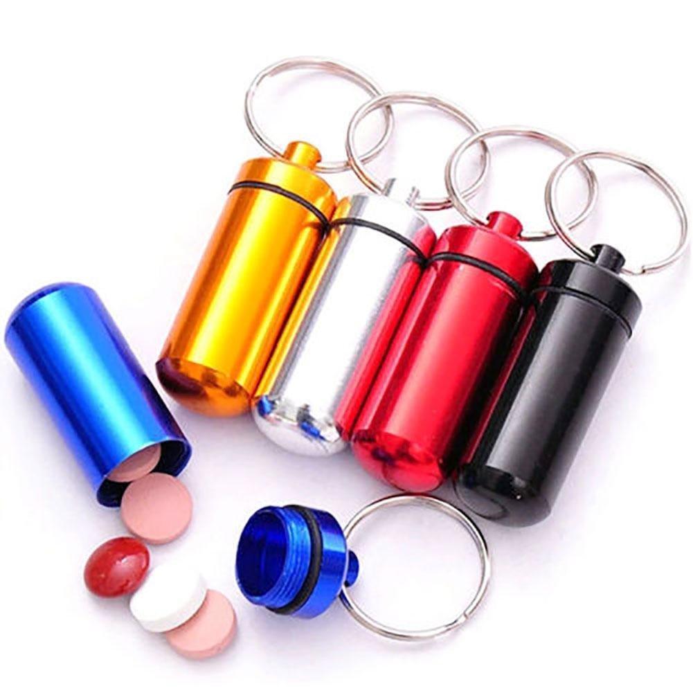 alohha 5pcs aluminio botella de p/íldora caja impermeable de cach/é drogas organizador Holder llavero contenedor p/íldora casos y divisores