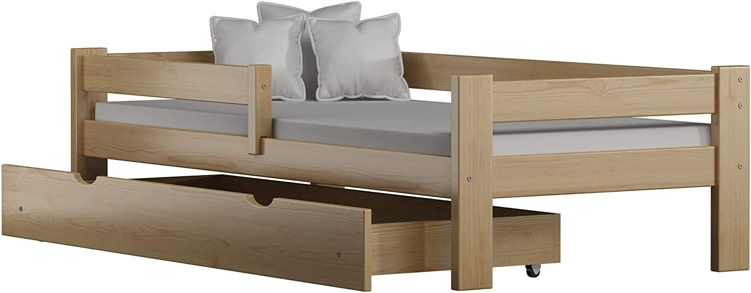 Childrens Beds Home Cama Individual de Madera de Pino Macizo - Willow Viene con cajones sin colchón (140x70, Natural)