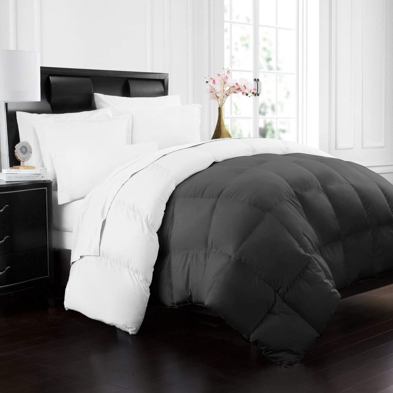 Beckham Hotel Collection 1700 Series Luxury Goose Down Alternative Reversible Comforter - Premium Hypoallergenic - All Season - Duvet - King/Cal King - Gray/White