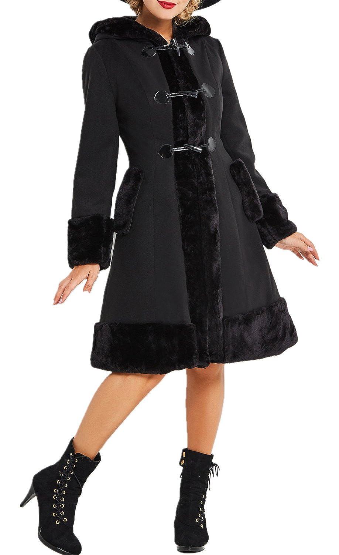 Black Speedle Women Faux Fur Vintage Style Luxury Shell Lined Duffle Coat for Petite