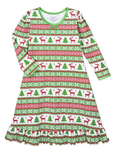 Sara's Prints Big Girls' Whirl and Twirl Long Sleeve Nightgown, Christmas Fairisle