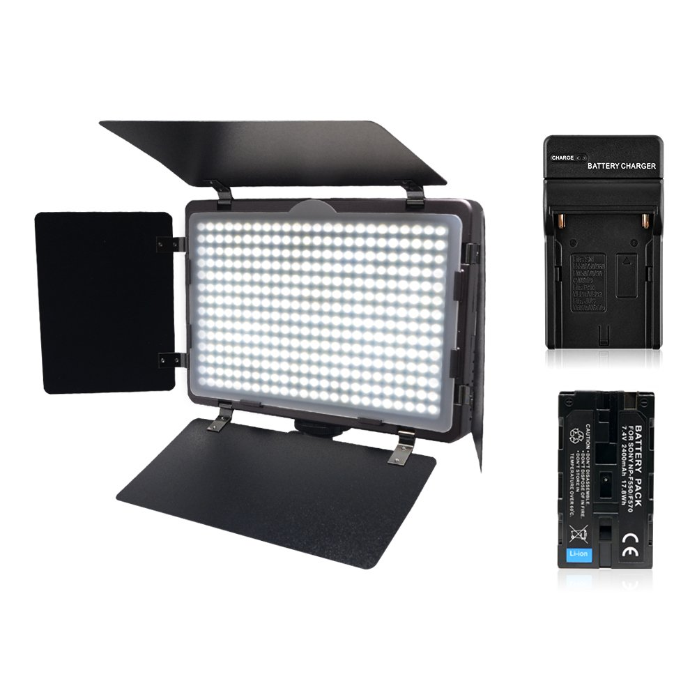 Venidice CRI 95 410 LED Video Light Camera Light Panel kit(Included NP-550 Battery+Charger+Cloth)with Barndoor,3200K-5500K, 2000LM for Canon Nikon and Other DSLR Cameras
