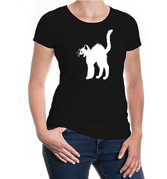 buXsbaum® Damen Girlie Kurzarm T-Shirt Katzenbuckel Katze | Katzensprache  Krallen Katzenbuch | XS