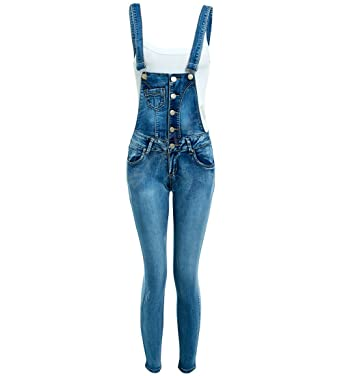 c468fb5edf SS7 Dungaree Slim Fit Stretch Denim Blue Womens Size 6 8 10 12 14 16 Ladies  Dungarees Jeans  Amazon.co.uk  Clothing