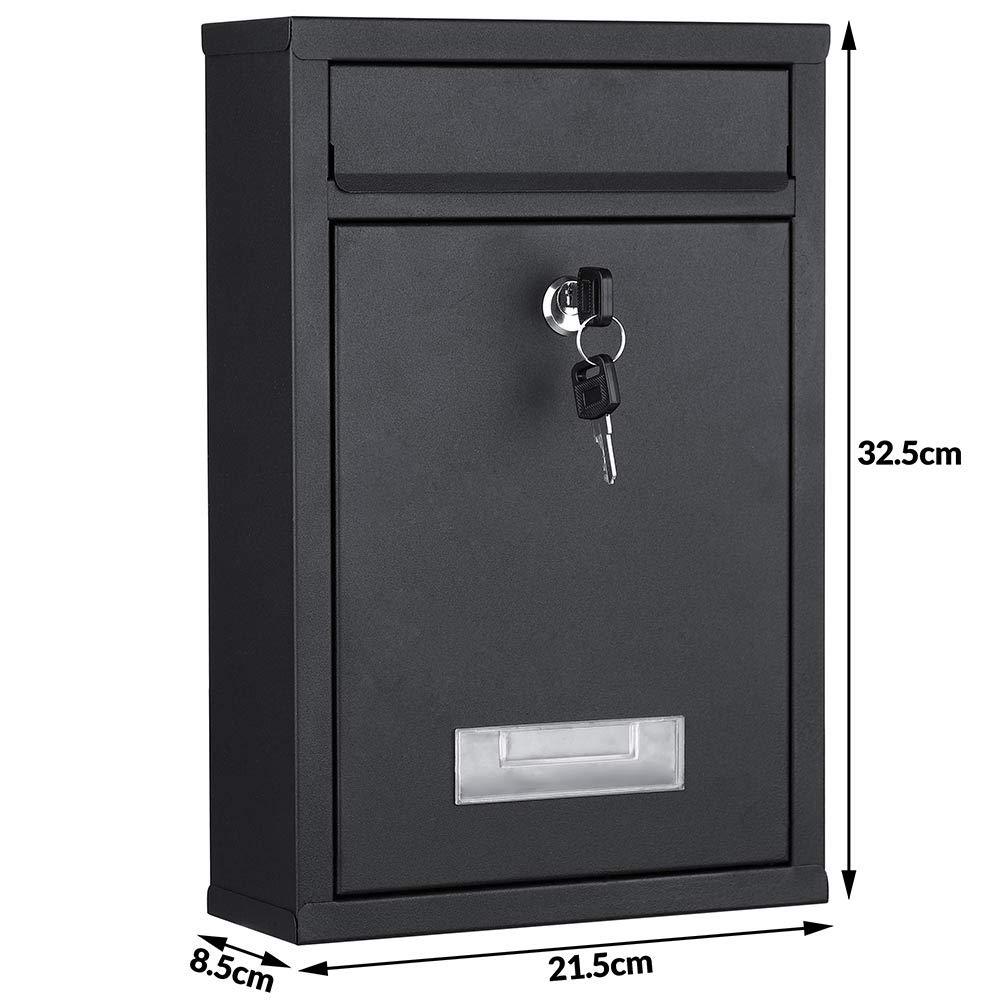 buz/ón para correo de exterior con cierre de llave Bakaji 2832145 Buz/ón de pared de acero inoxidable negro