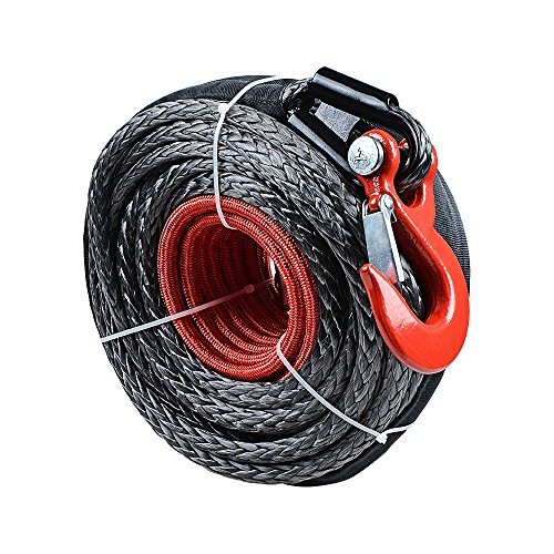 Synthetic Winch Line Cable Rope 92ft X 1/2 Inch 22000LBS w/ Protective Sleeve for SUV ATV UTV Jeep Truck Boat Ramsey (with Hook)