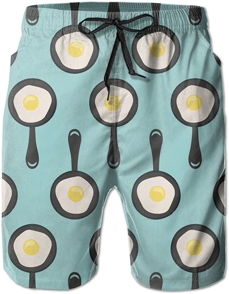 LONG/_Don Fried Eggs And Pan-01 Quick Dry Mens Beach Shorts Swim Trunks Shorts