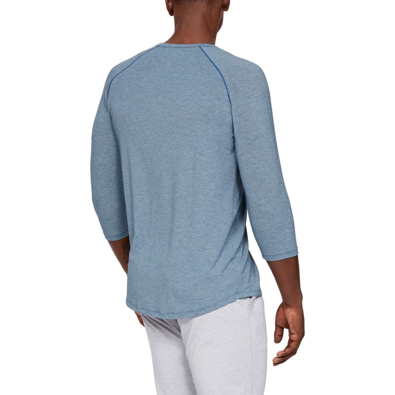 Petrol Blue Fade Heather//Metallic Silver M Blu Maglietta A Maniche Corte Uomo Under Armour Recovery Sleepwear Henley