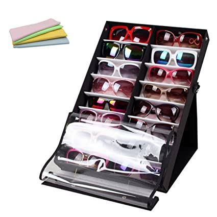 Attirant Haoun 16 Slot Sunglasses Organizer Eyeglass Storage Display Stand With  Microfiber Cleaning Cloth