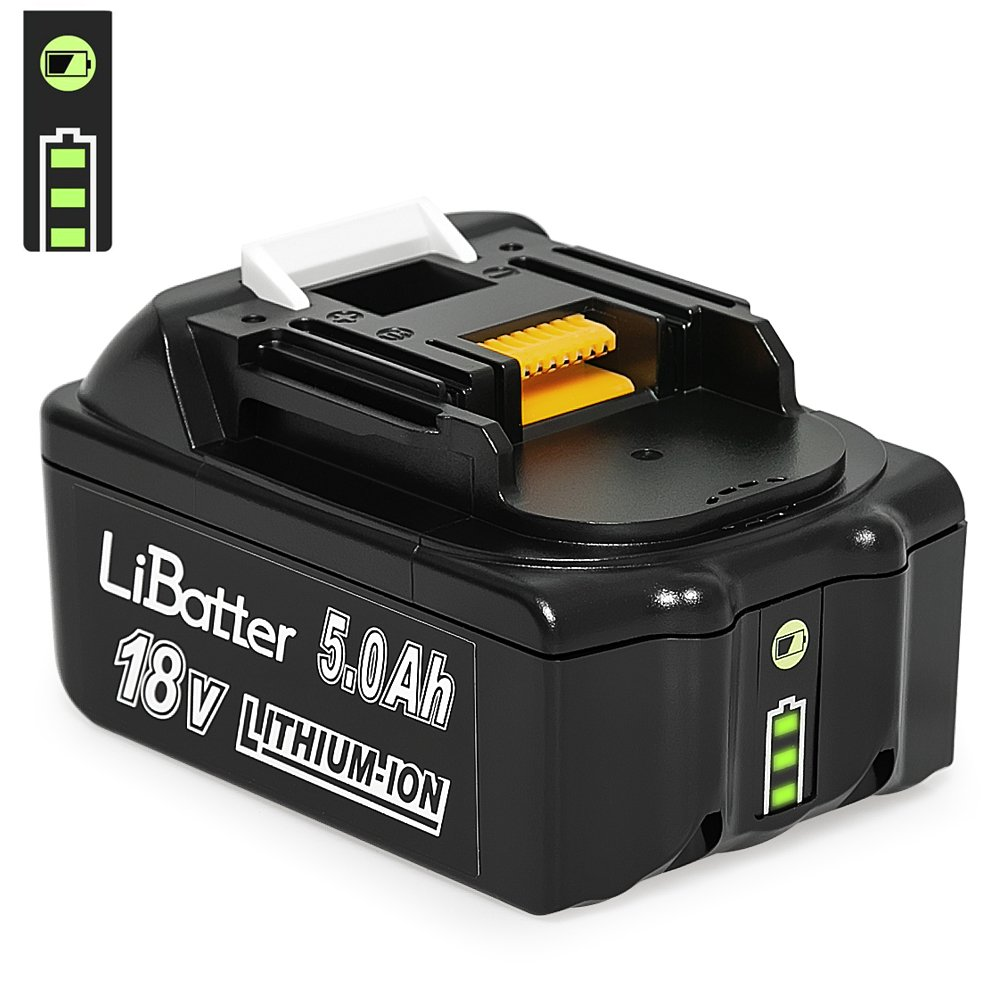 LiBatter (1pack) BL1850B 18V 5.0Ah Li-ion Replacement Batteries Compatible with Makita Battery LXT-400 BL1830 BL1830B BL1850 BL1850B BL1860 BL1860B BL1835 BL1845 194205-3 194204-5 196399-0 Cordless Power Tool with LED Charge Indicator