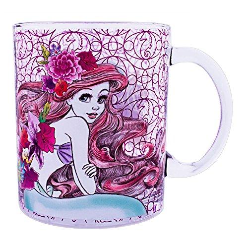 Silver Buffalo DP11086A Disney Princess Ariel Floral Glass Coffee Mug, 17.5-oz