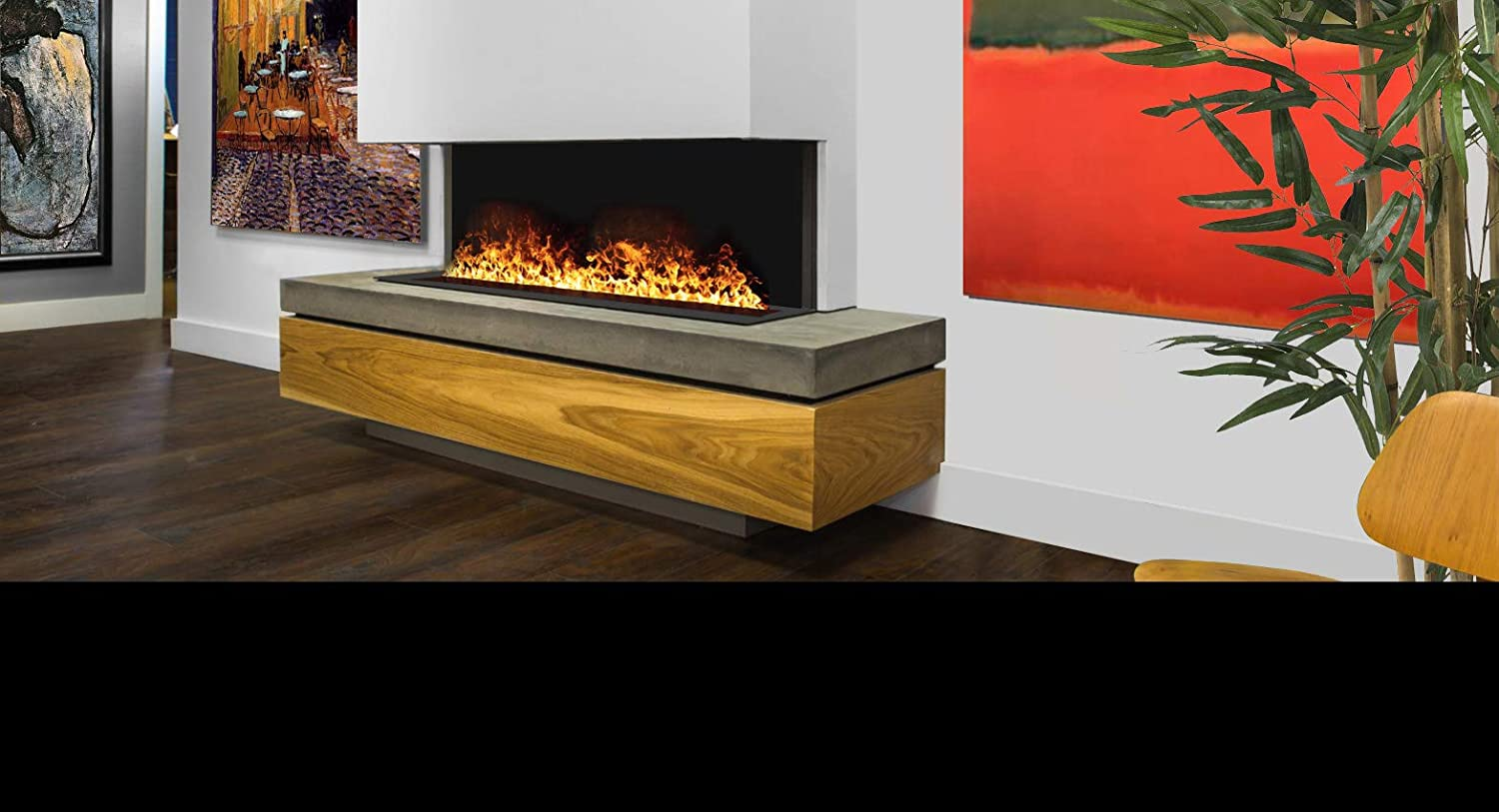 Afirewater Premium Water Vapor Fireplace Remote Control Flame 30 Realistic Flame Colors Ios Android App Enabled Ul Listed Awp 20 50 20 Unit Awp 40 100 40 Unit Awp 60 150 60 Unit 60 Inch Home