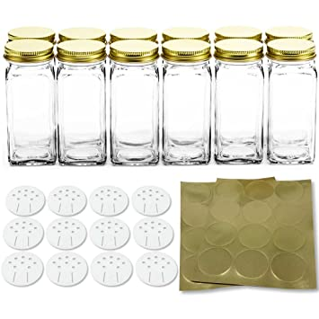 12 square glass spice bottles 4 oz spice jars with gold metal lids shaker tops - Glass Spice Jars