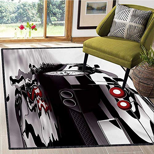 (Cars, Area Rug Underpadding, Modern Black Car with Water Reflection Prestige Fast Engine Performance Lifestyle, Bath Mat 4x6 Ft Black Red White)