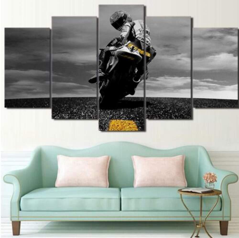 FimGGe   5 5 5 Stück Leinwand Valentino Rossi Moto Poster HD Gedruckt Wand Kunst Wohnkultur Leinwand Malerei Bild leinwand Wand postermalerei -Groß mit Rahmen b4d753
