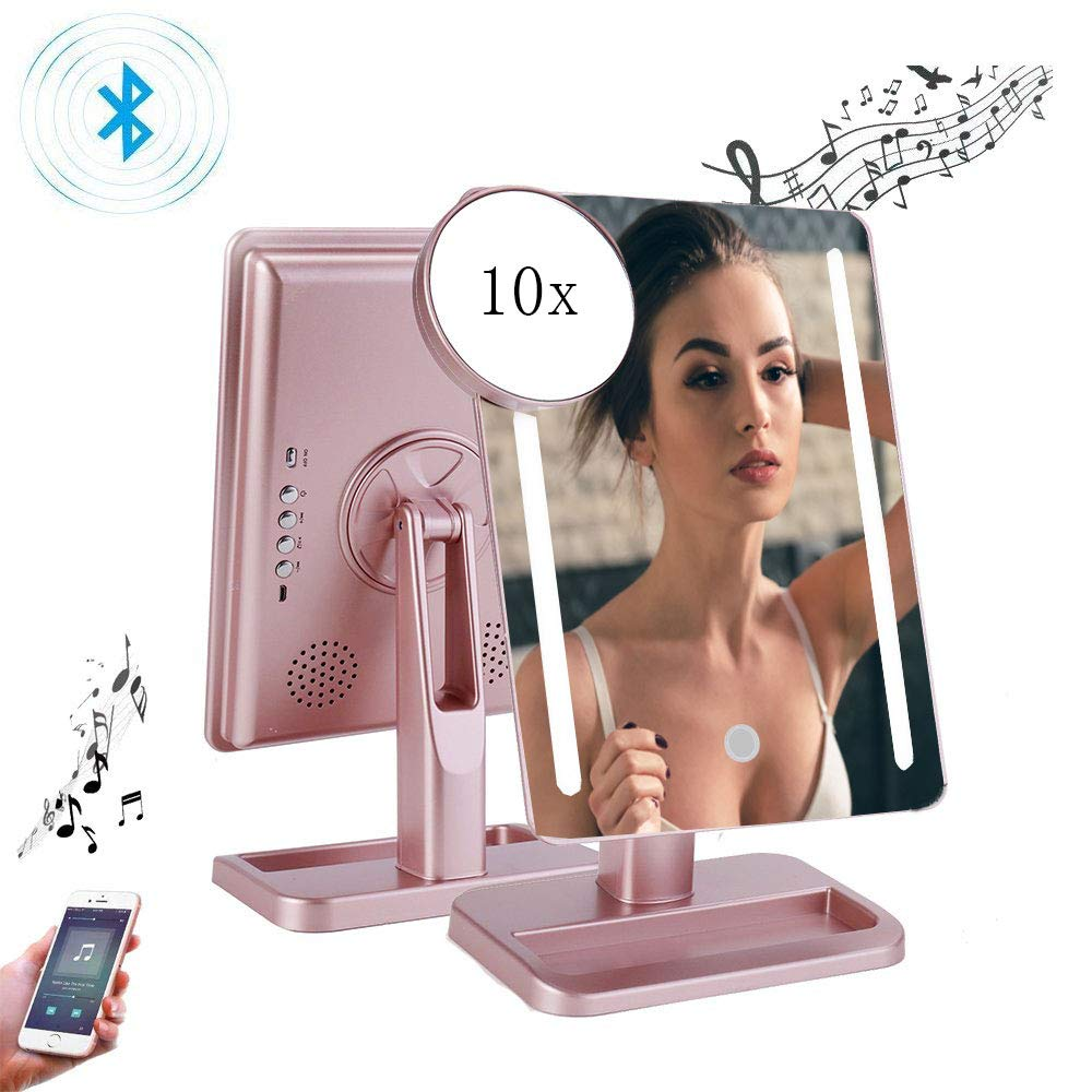 Makeup Mirror with Bluetooth,Rechargeable Touch Dimmable Vanity Mirror with Energy-Saving LED Lights,Removable 10x Magnification,180 Rotation,Lighted Up Cosmetic Mirror for Home Tabletop Travel