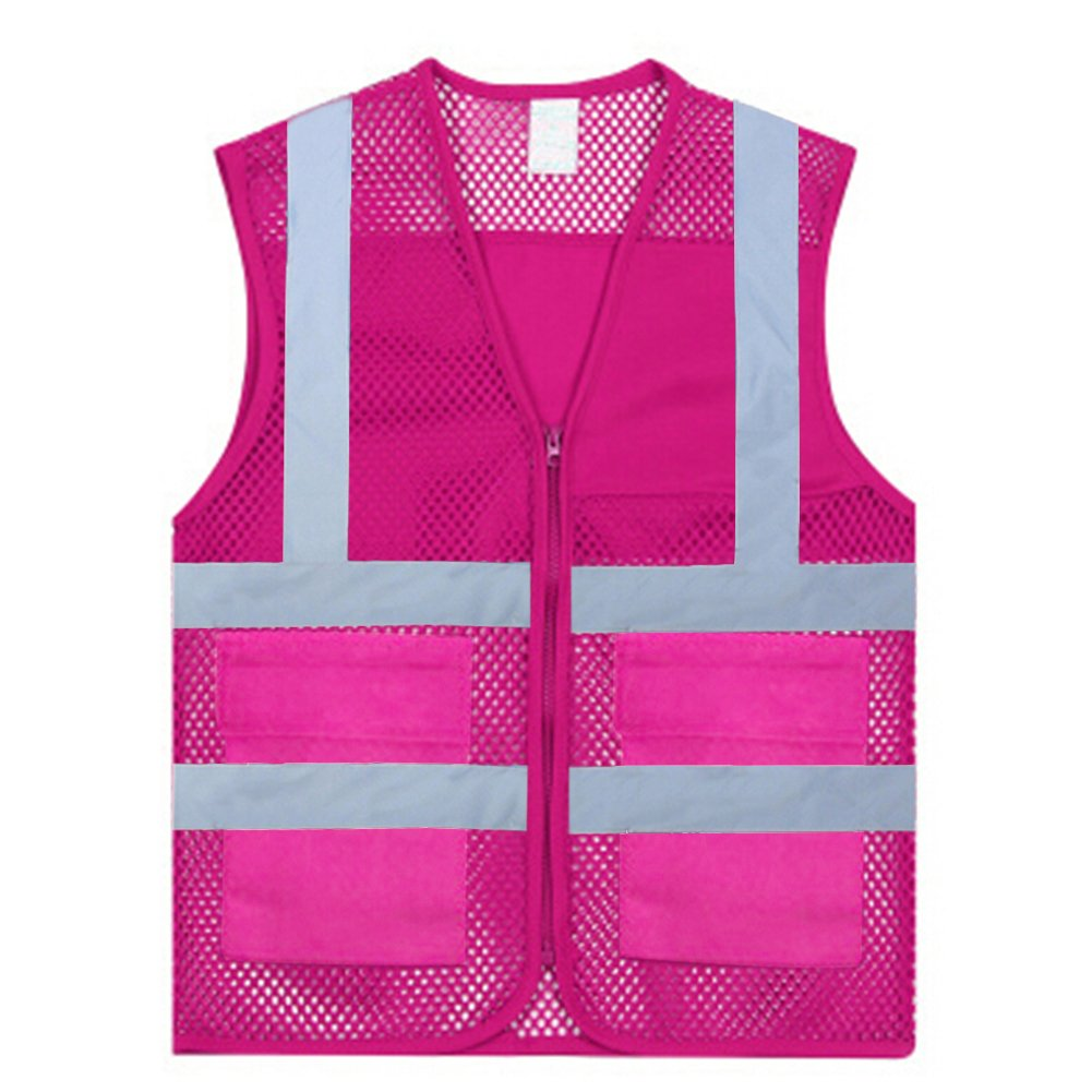 GOGO Unisex Volunteer Vest Safety Reflective Running Cycling Vest with Pockets-Hot Pink-L