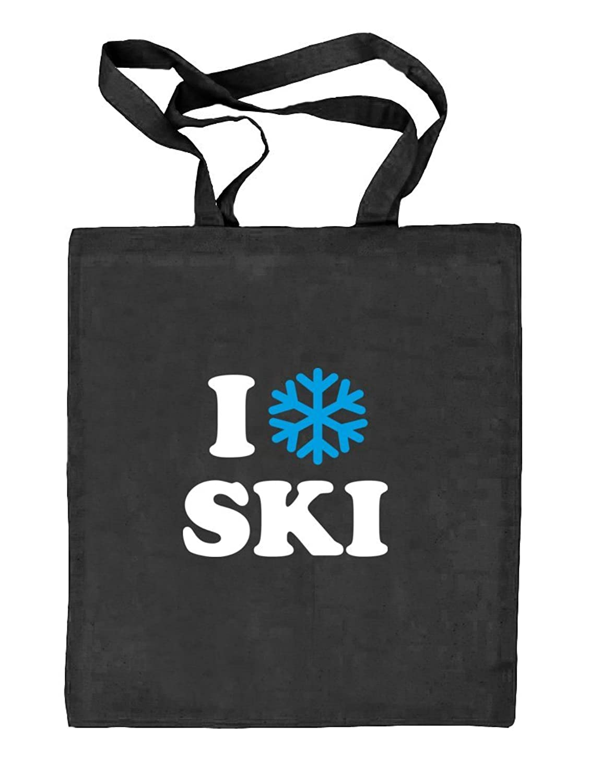 Shirtstreet24, I LOVE SKI, Apres Ski Wintersport Natur Stoffbeutel Jute Tasche (ONE SIZE)