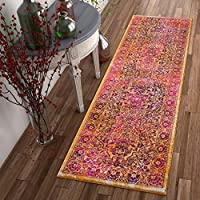 Alhambra Modern Vintage Bright Floral Traditional Medallion Fuscia Purple Yellow Gold 2x7 (23 x 73 Runner) Area Rug