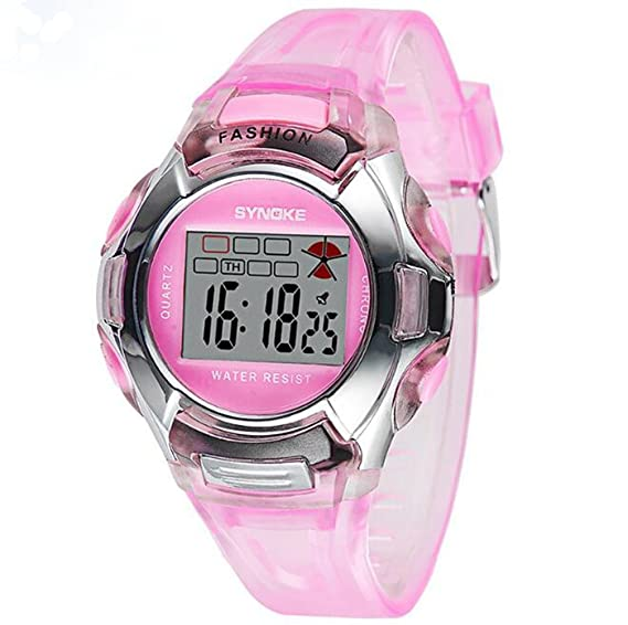Amazon.com: Multifunction Kids Sports Watches 3ATM Water Resistance Backlight Digital Student Wristwatches Pink: Watches