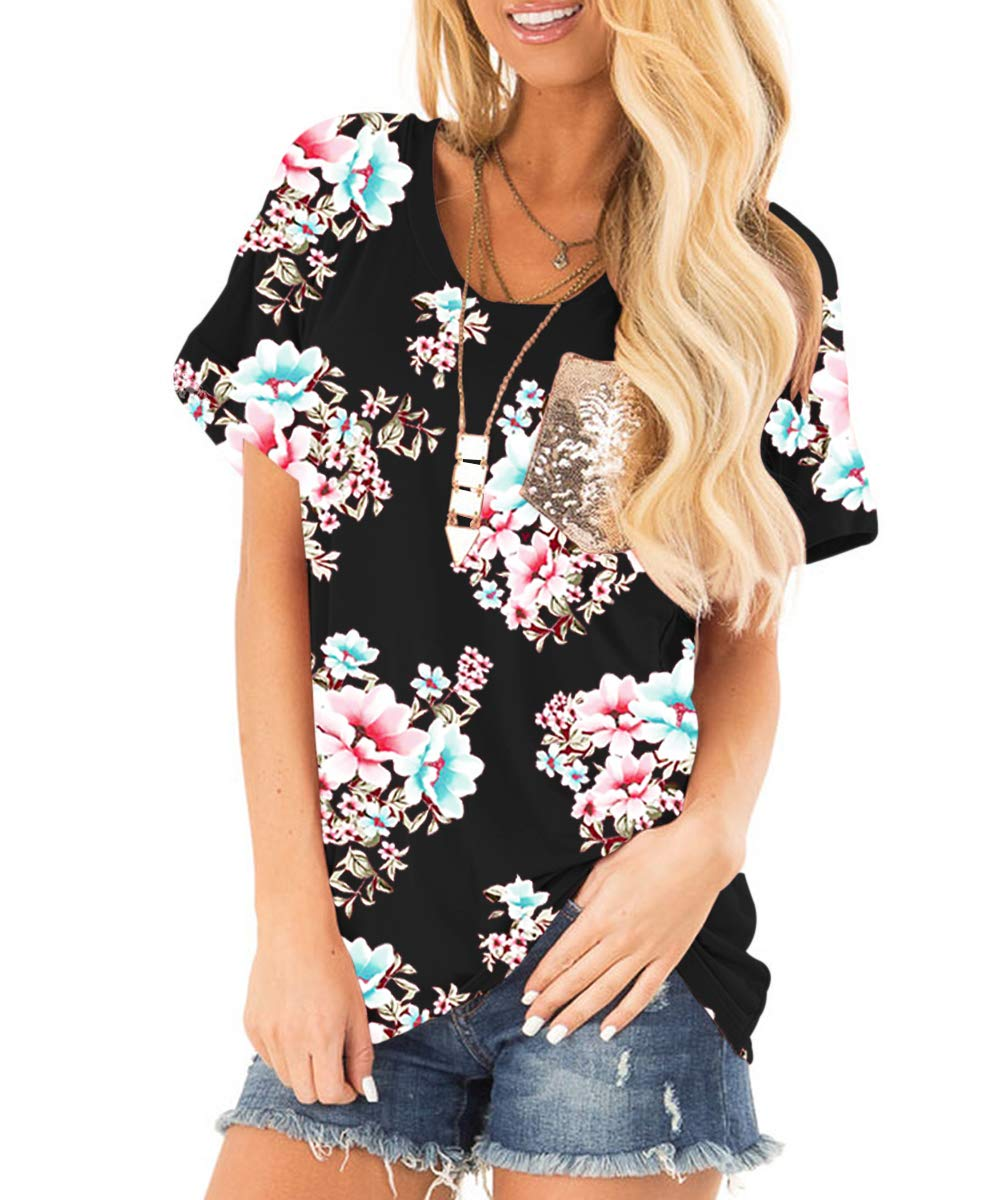 deesdail Sequin Shirts for Women, Junior Round Neck Short Sleeve Casual Tops Slim Fit Floral Printed Blouses Knitted Tunic with Pocket Black M