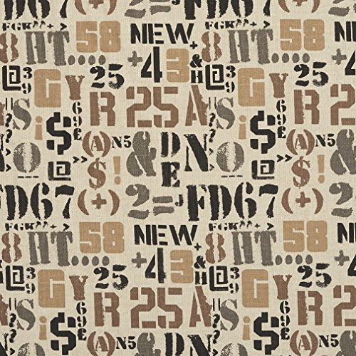 (Beige Black and Brown Contemporary Modern Linen Print Upholstery Fabric with Letters and Numbers by the yard )