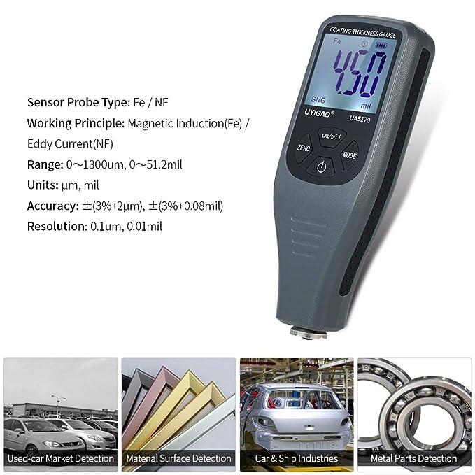 UYIGAO UYIGAO Revestimiento de pintura digital Medidor de espesor Revestimientos de mano Medidor de espesor con función automática Sonda Fe/NF 0-1300μm para ...