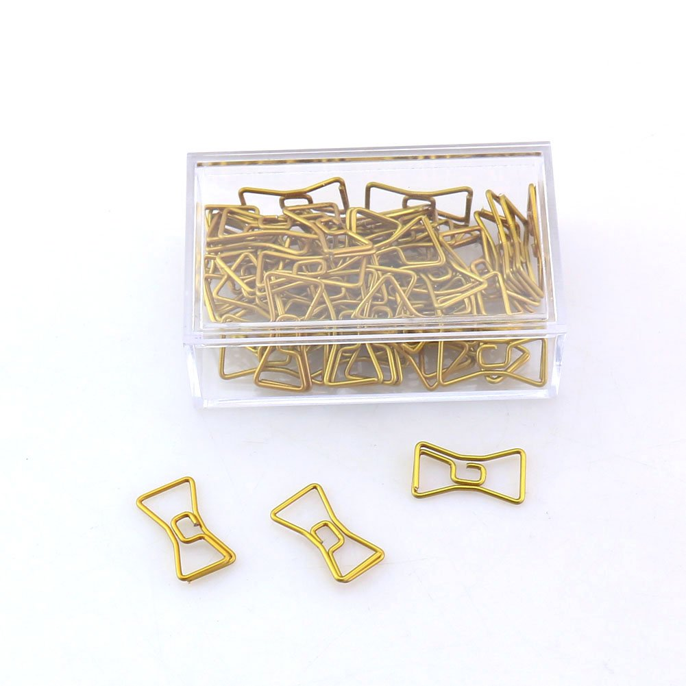 OUTU 50pcs/box Metal Material Bow Shape Paper Clip Gold Color Kawaii Bookmark Office School Stationery Marking Clips H0037 (bowknot)