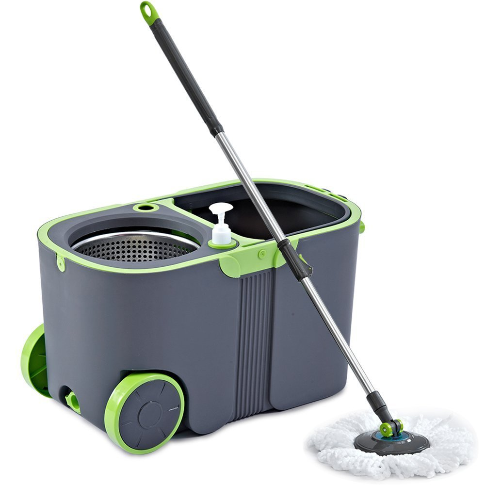 Deluxe Rolling Spin Mop & Bucket -Stainless Steel Spin Dry Bucket & Telescopic Handle, Spinning Mop Bucket System with 2 Microfiber Mop Heads Refills