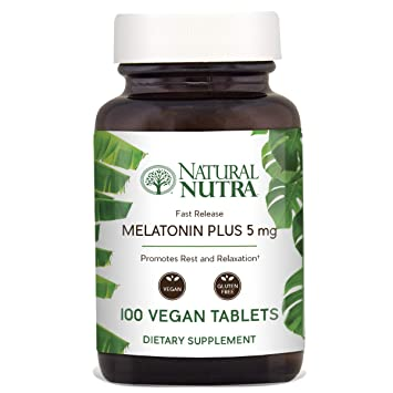 Natural Nutra Vegan Melatonin 5mg with B6, Fast Dissolve, Time Release with Calcium for