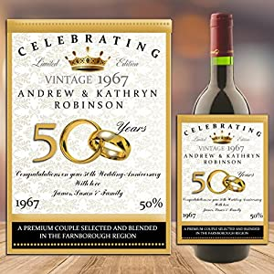 Personalised WINE CHAMPAGNE BOTTLE LABEL Golden 50th Wedding