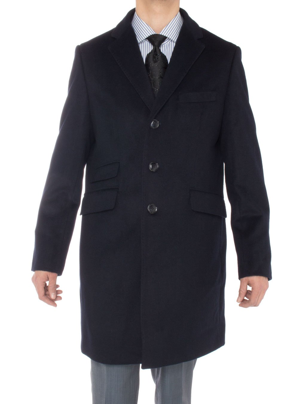 Luciano Natazzi Men's Cashmere Topcoat Modern Ticket Pocket Trench Coat Overcoat (48 US - 58 EU, Navy Blue) by Luciano Natazzi (Image #1)