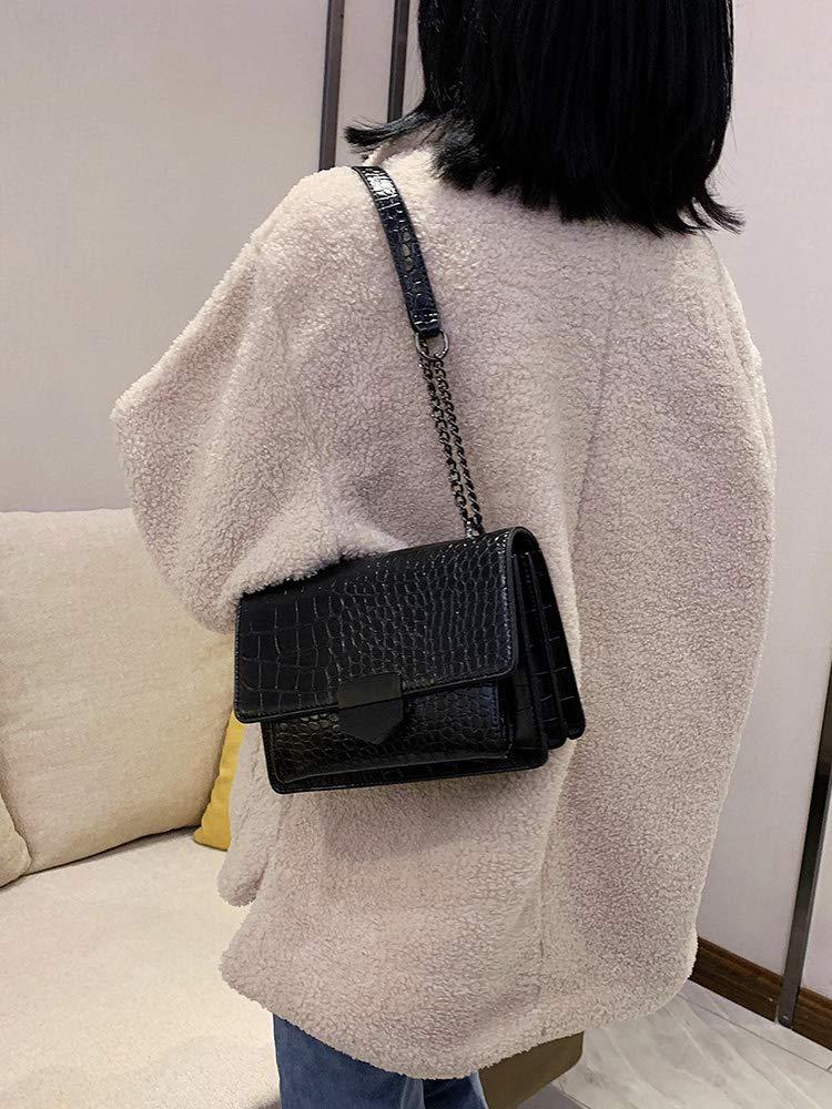 Romacci dam crossbody väskor kromplätering handväska flip fodral ledig kedja enkel axel messager PU väskor kvadrat paket SVART