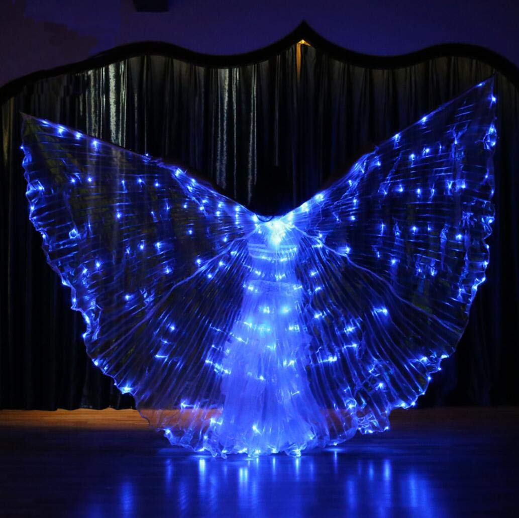 bluee Beautiful Dance Fairy Opening Belly Dance LED Isis Wings with Sticks RodsWings LED Luminous Light Up Stage Performance Props Suitable for Belly Dancing, PerformanceDiscoloration