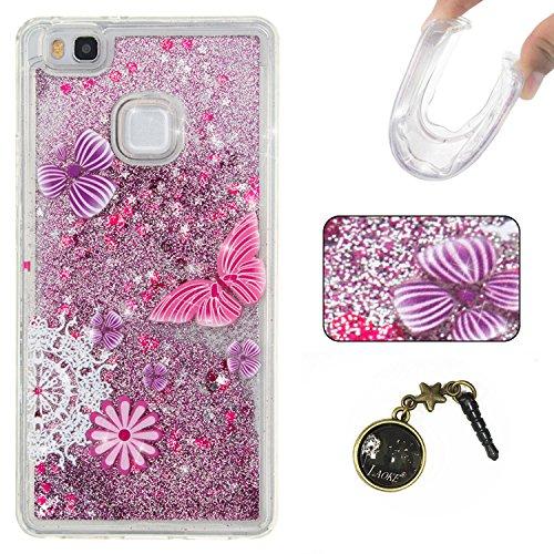Para Huawei P9Lite móvil, 3d fließen líquido para trucha, arenas movedizas estrella Bling Lujo Shiny brillo Sparkle Cristal Crystal Multicolor de amor diseño Satisfacción Bolsa Funda Para Huawei P9L 2