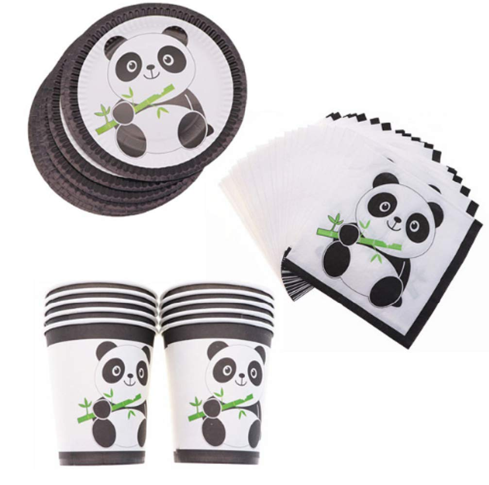 Hot Panda Party Supplies Disposable Tableware Cup Plate Napkins Birthday Wedding for Baby Shower Decoration