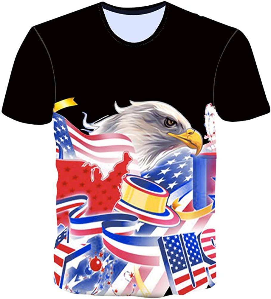 KINGOL Men Summer Fashion Independence Day American Flag Summer Short Sleeve T-Shirts Top Blouse