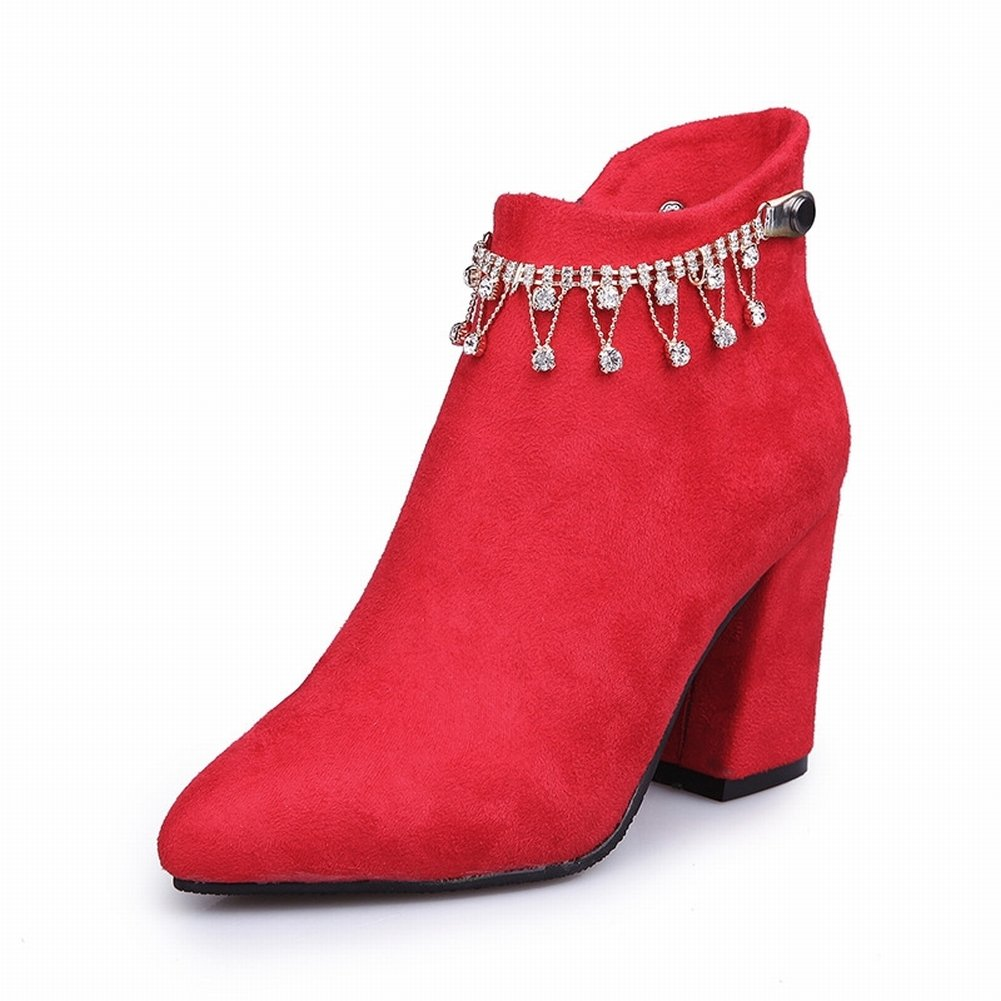 All Match Spitz und Rau mit Stiefeln Stiefel Frauen Stiefel Baumwollstiefel Harajuku High Heels , rot , 35,5 EUR