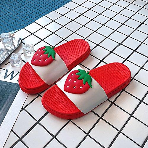 38 bagno pantofole dentro da coppie carino Estate home fankou la morbido home fragola donne terreno e cool e vasca fuori rossa personalizzato casa sandali tZ47wq1