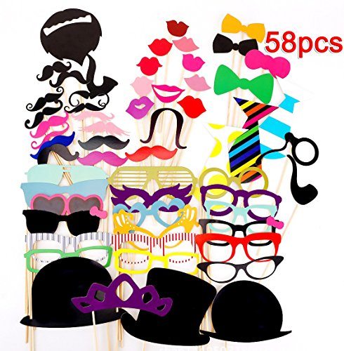 58pcs Photo Booth Props DIY Kit for Wedding/Party (Halloween Photo Booth Design)