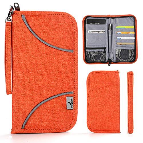Family Travel Wallet, Vivefox RFID Blocking Passport Wallets, Travel Documents Organizer for Family & Men & Women (orange)
