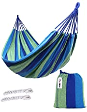 ValueHall Outdoor Soft Cotton Fabric Brazilian Hammock Double Wide 2 Person Travel Camping Hammock V7010-1 (Blue)